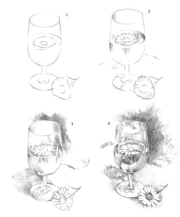 Как нарисовать бокал карандашом