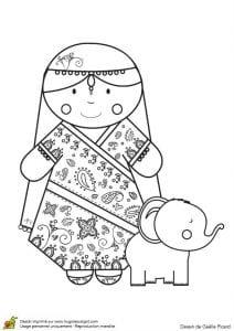 Национальный-костюм-Индии-раскраска-бесплатно