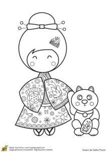 Национальный костюм раскраска бесплатно Япония