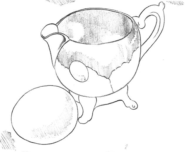 -набросок-яйца-и-сивочника Как нарисовать отражение и кружева