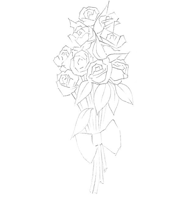 Как нарисовать красивый букет карандашом