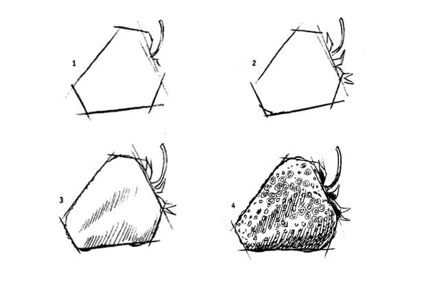 Как нарисовать клубнику карандашом?