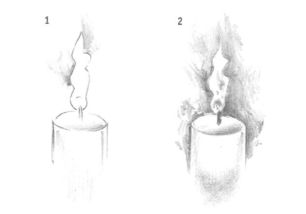 -пламя Как нарисовать свечу карандашом