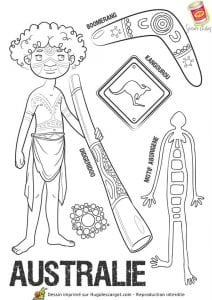 Национальный костюм Австралии раскраска