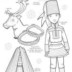 национальный костюм Лапландии раскраска