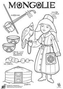 национальный костюм Монголии раскраска