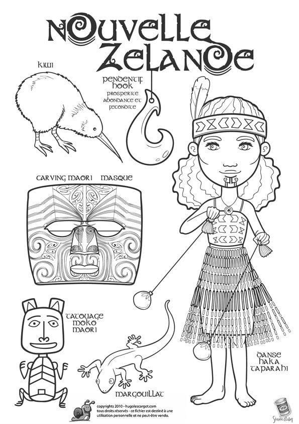 национальный костюм Новой Зеландии раскраска
