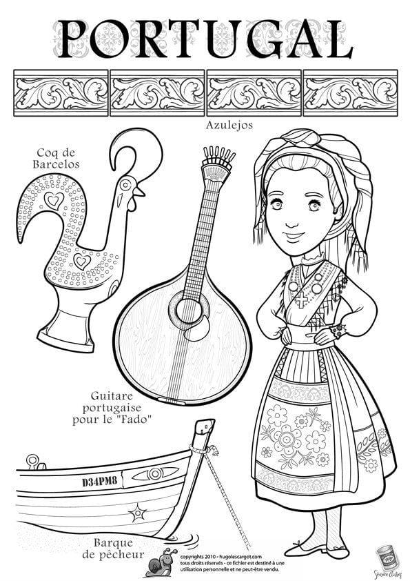 национальный костюм Португалии раскраска
