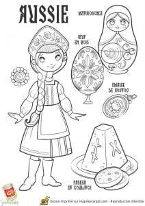 национальный костюм России раскраска
