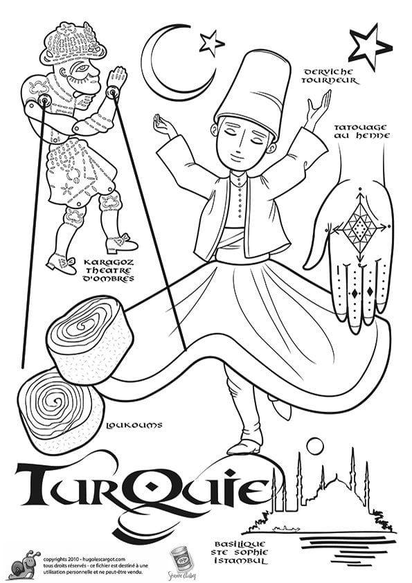 национальный костюм Турции раскраска