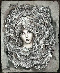 раскраска знак зодиака Водолей 7