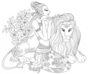 раскраска знак зодиака Лев 2