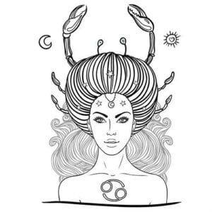 раскраска знак зодиака Рак 6