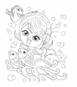 раскраска знак зодиака Рыбы 1