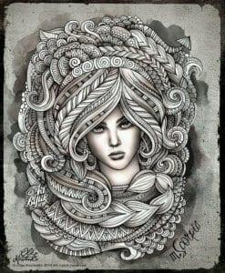 раскраска знак зодиака Скорпион 7