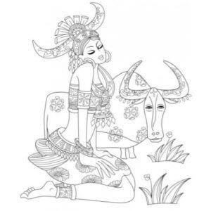 раскраска знак зодиака Телец 4