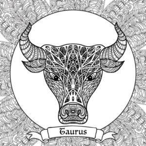раскраска знак зодиака Телец 9