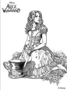 алиса в стране чудес распечатать бесплатно раскраски