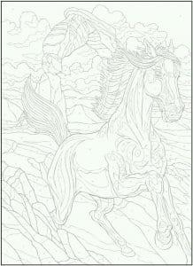 детей раскраска лошадь картинка для
