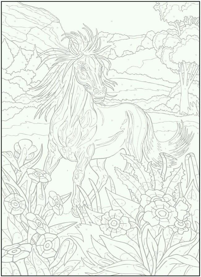 детей раскраски рисунок лошади карандашом для