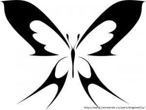 бесплатно бабочка черно белая раскраска