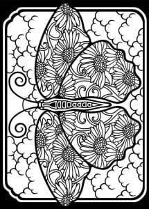 бесплатно черно белая раскраска бабочка