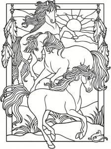 для детей раскраски рисунок лошади карандашом