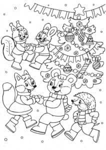 бесплатно год детские раскраски новый А4
