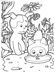 бесплатно по имени гав раскраска котенок