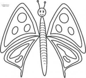 бесплатно раскраска для детей бабочка