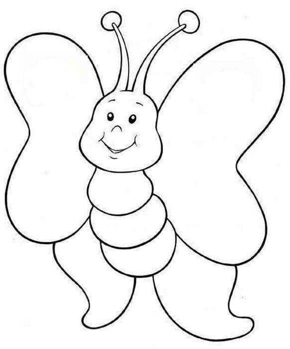 бесплатно раскраска для самых маленьких бабочка