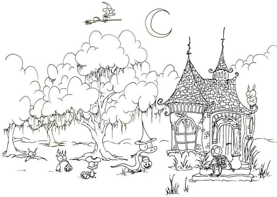 фантастический лес рисунок карандашом станет