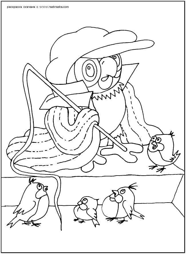 бесплатно раскраски про попугая кешу распечатать рисовака