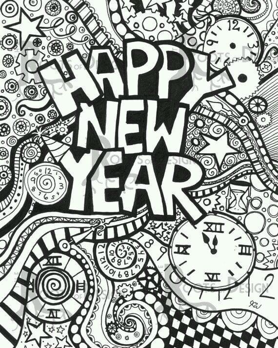 бесплатно распечатать новый год раскраска зима