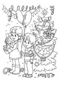 бесплатно в лесу новогодние раскраски новый год А4