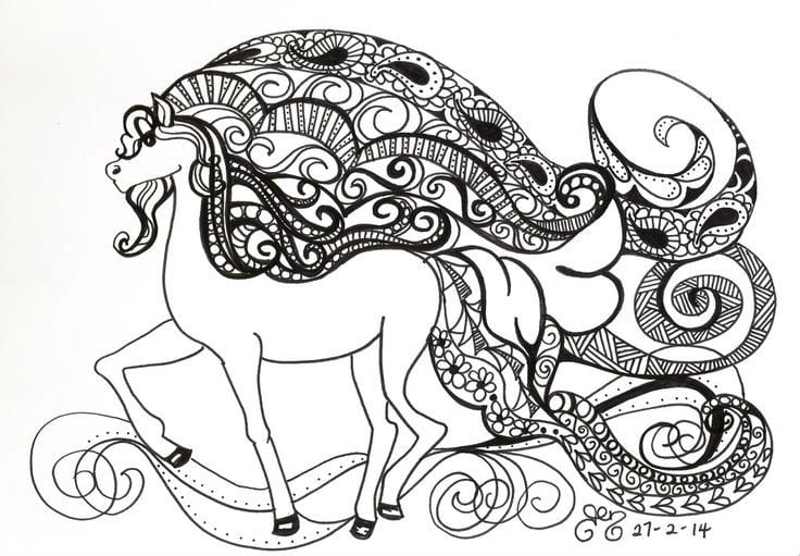 для детей распечатать лошадь раскраска