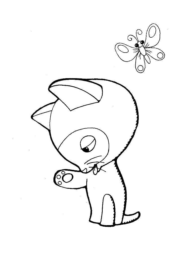 гав раскраска распечатать котенок по имени