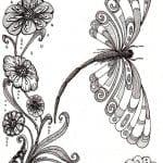 и бабочки распечатать раскраски цветы