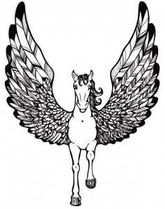 лошади бесплатно раскраски пегас