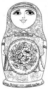 классическая традиционная раскраска матрешек