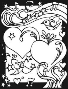 красивая бесплатно раскраска дню валентина