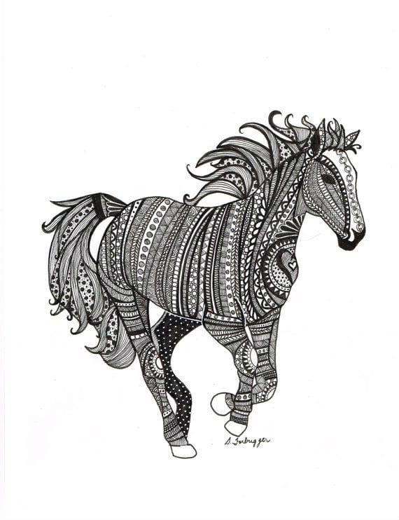 лошади раскраски для взрослых