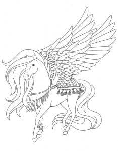 лошади раскраски для девочек пегас