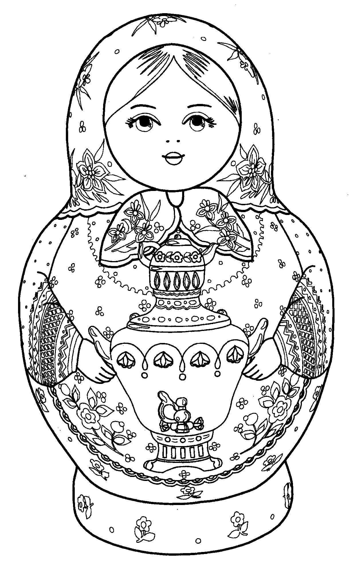 матрешка раскраска для детей русская