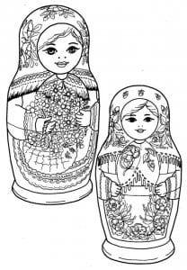 матрешки раскраски для детей распечатать