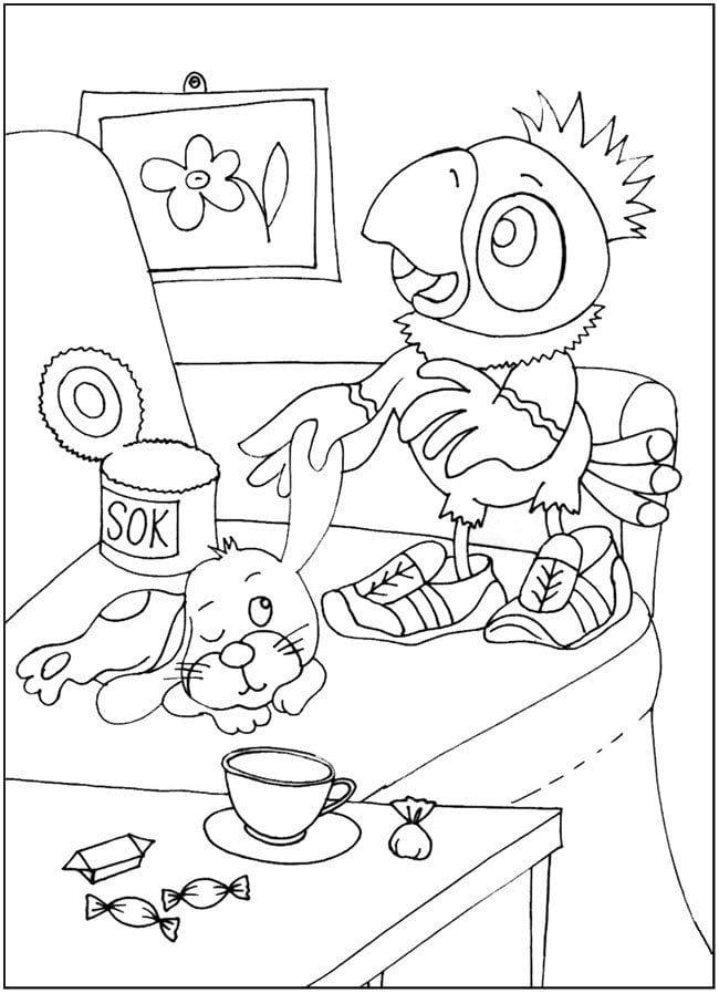 про попугая кешу распечатать раскраски