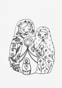 раскраска матрешка для малышей