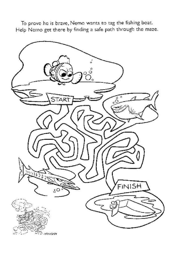 раскраска рыбка немо
