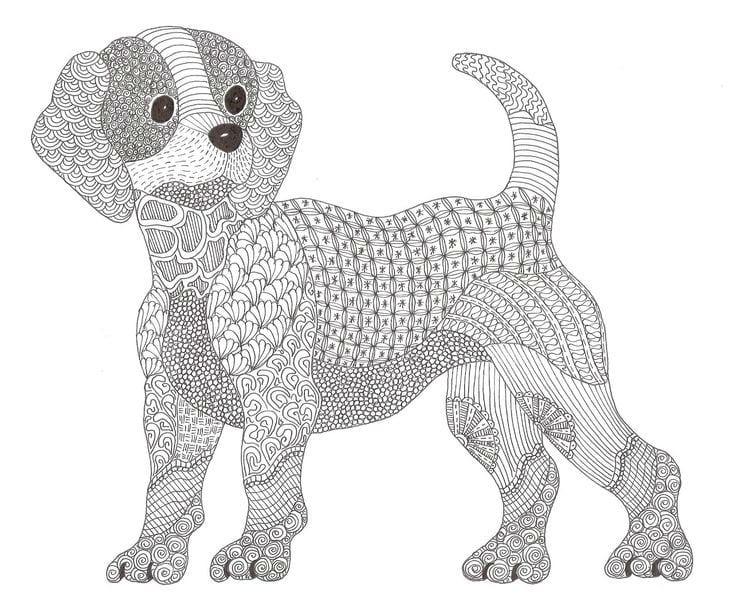 раскраска собака сложная (13) - Рисовака