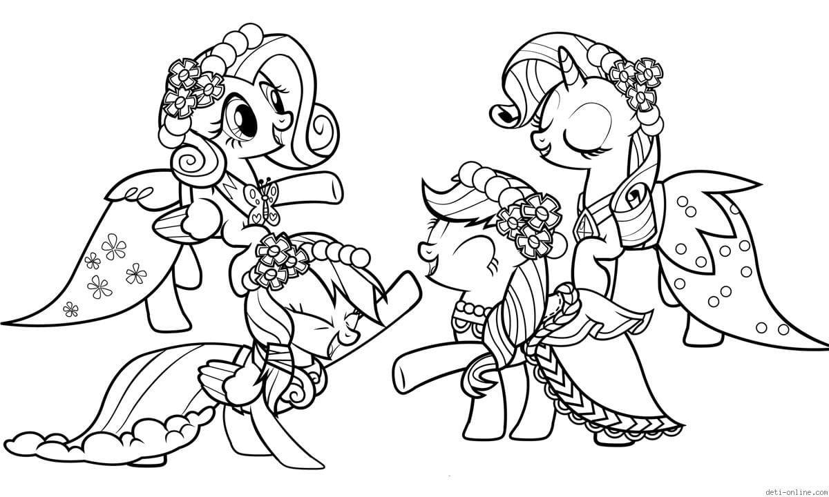 раскраски из мультиков про маленькие пони распечатать